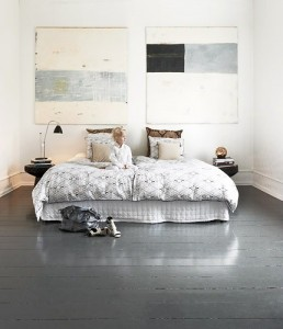 painted wood floors - grey bedroom
