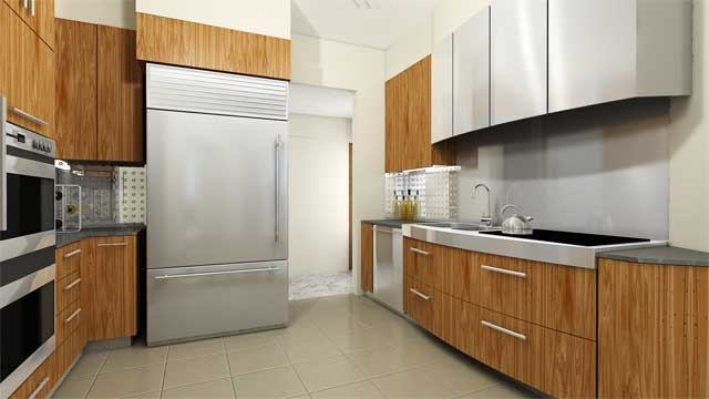 modern kitchen with wood and square tiles.jpg