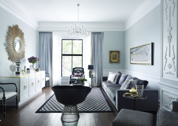 circles make this room feel soft - the mirror, rug design and even the base of the chair