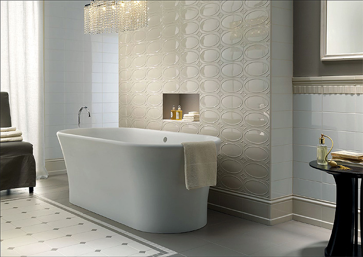 the oval tiles connect gorgeously with the oval tub