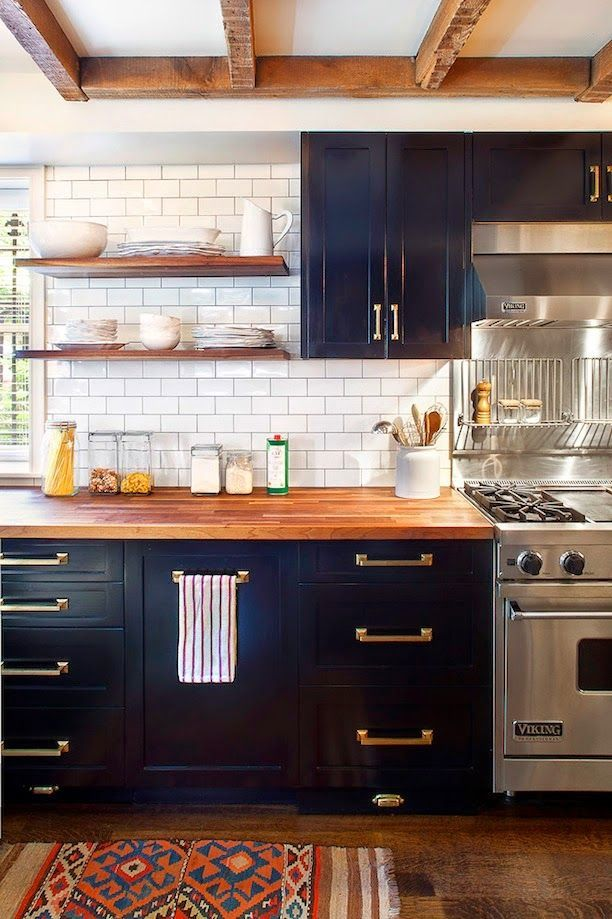 Use open shelves to save on the cost of some upper cabinets.