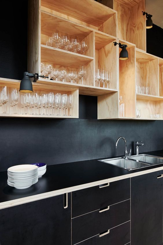 Paint out the backsplash in a colour that matches the counter for a higher end look.
