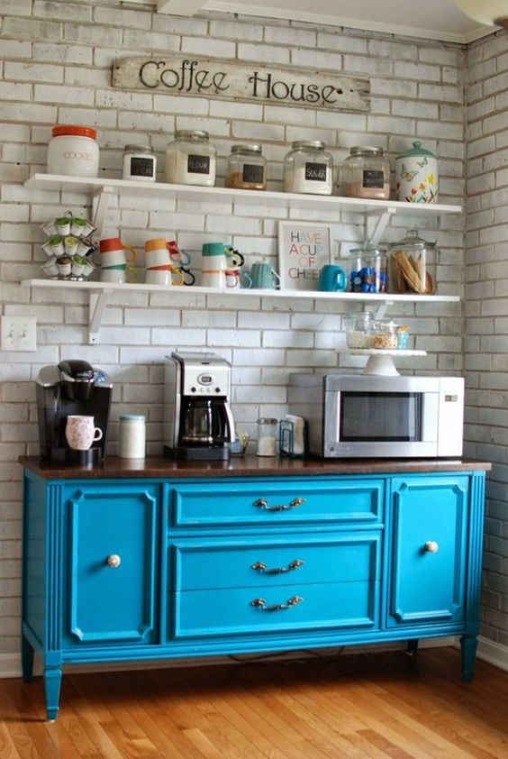 Use an old dresser painted in your favourite colour.