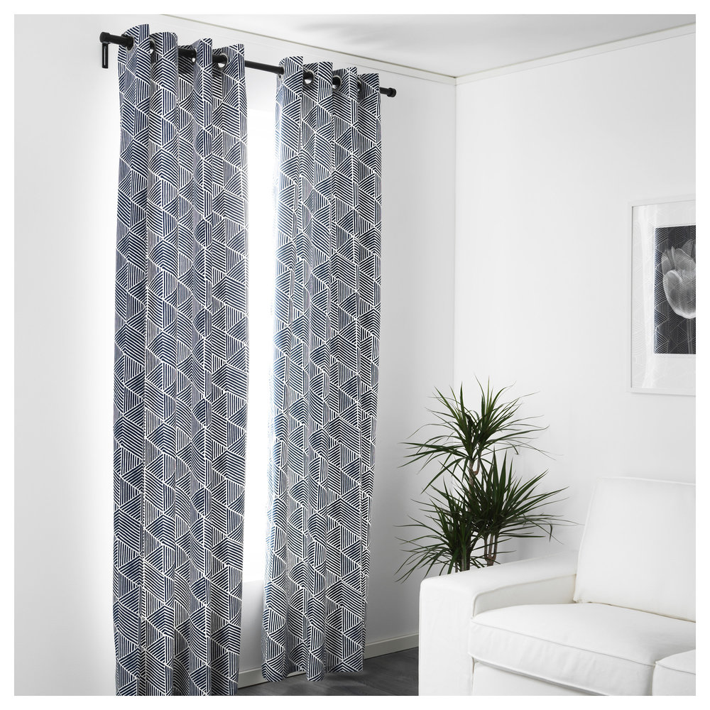 The new trend is patterned curtains, so it's easy to experiment with these NUNNERORT panels at just $29.99 a pair in navy, grey or red.