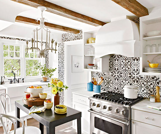 Still IN - Try something on like this backsplash for big trendy impact.