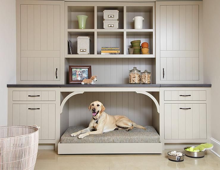 A custom built-in is the perfect way to make space for your dog bed. No matter the size of your dog!