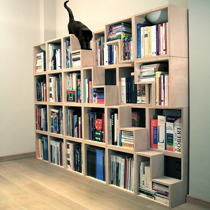 Stairs for the cat to get to the top this way is ingenious so they can hopefully avoid messing up the bookshelves getting there.