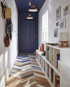 One of my favourite ways to add colour in a long hall - one wall and the ceiling! Brilliant!