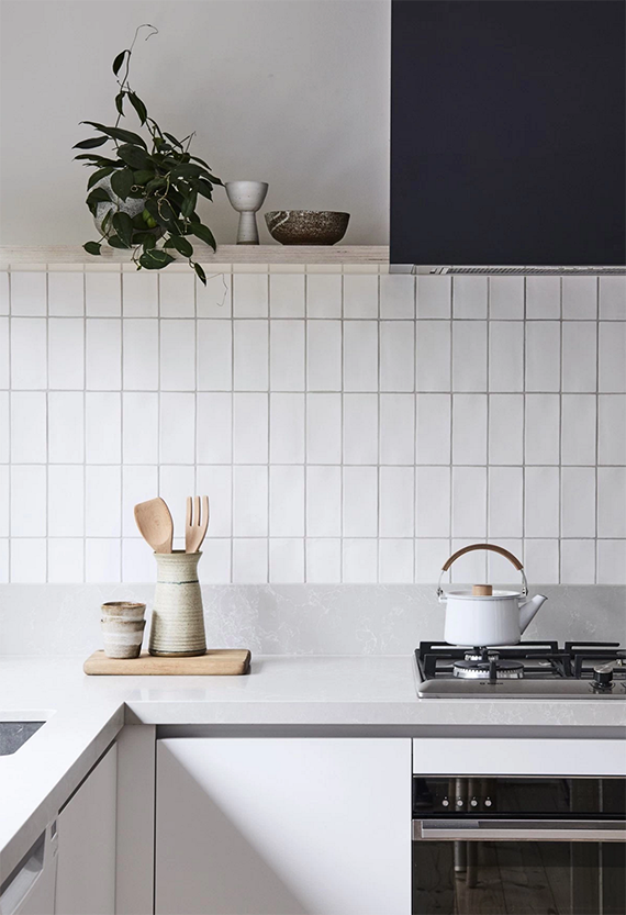 The stacked tile is popular in the kitchen too.