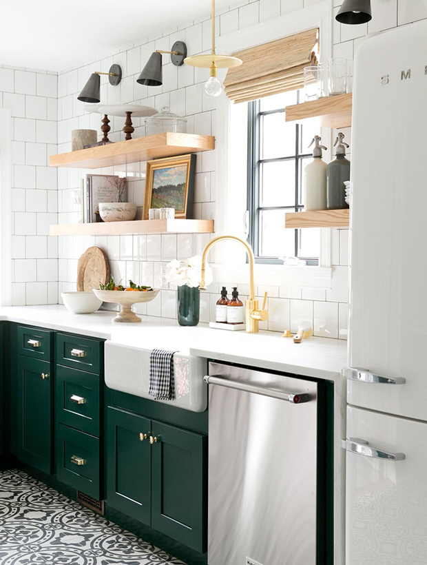 18-greenkitchens-Modern-Vintage-Kitchen-with-cabinets-in-Benjamin-Moores-Forest-Green-open-shelving-and-cement-tile.jpg