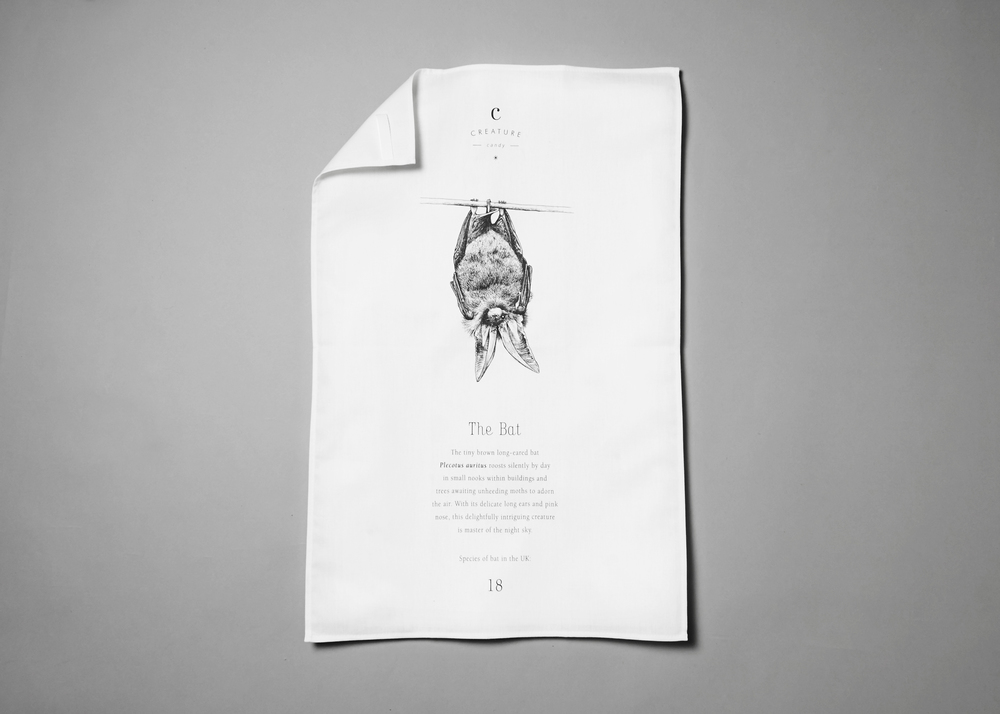 Cotton tea towel featuring a bat £12.00 (including a £1.20 donation to the  Bat Conservation Trust )