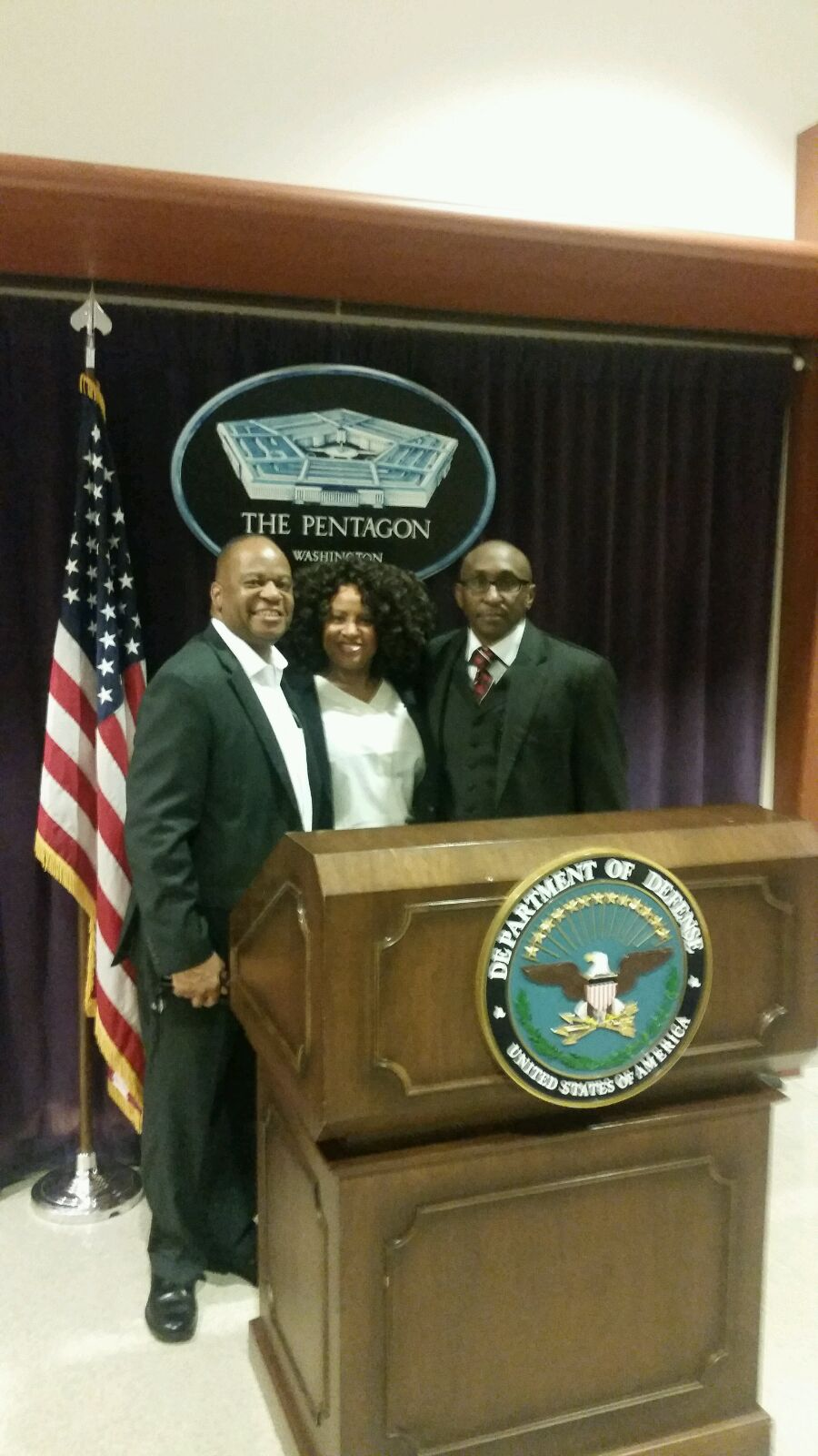 CEO, Mr. Lancaster, and Director of Communcations, Ms. Delk, with BIG Region XI Director, Dr. Hezekiah Braxton, III at the Pentagon.