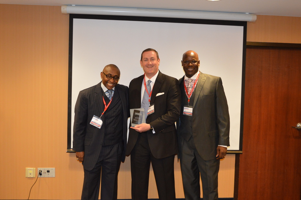 CEO, Cedric Lancaster, CEO of American Benefits Exchange Brian Pearson, and COO Brian Shackelford presenting Mr. Pearson with an Appreciation Award from UEBSC. Feb. 2016 - Atlanta, GA.
