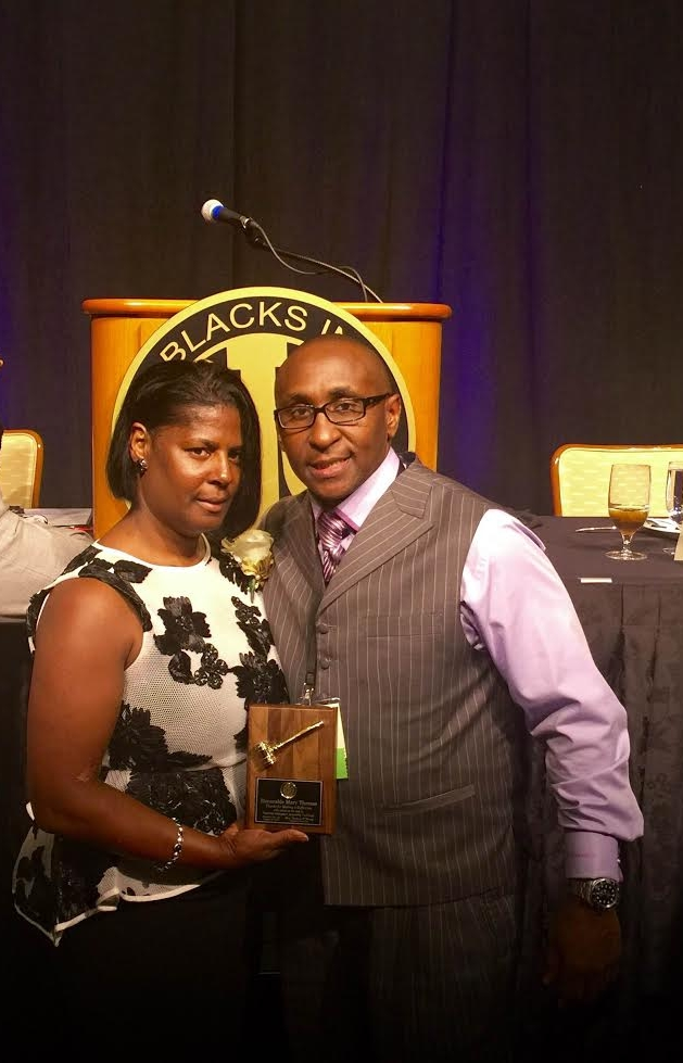 The Honorable Mary K Thomas of the BIG Pentagon Chapter received an award for outstanding accomplishment sharing a moment with Mr. Lancaster at the 38th Annual BIG NTI Conference in Atlantic City, NJ - August 2016