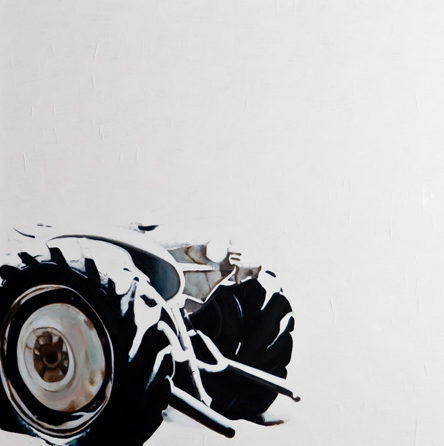 "'Erosion - Tractor A' - 48"" x 48"" - Oil on canvas, paper - 2011 : SOLD"