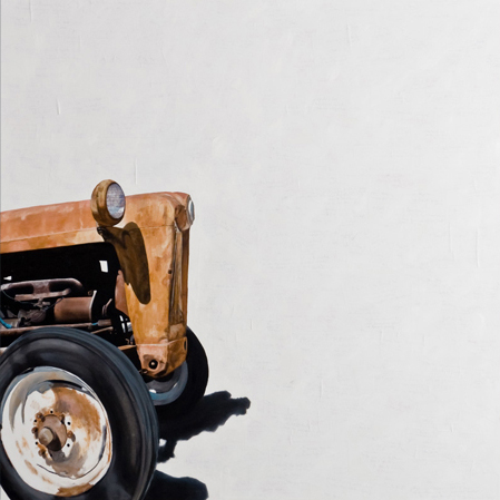 "'Erosion - Tractor B' - 48"" x 48"" - Oil on canvas, paper - 2011 : SOLD"