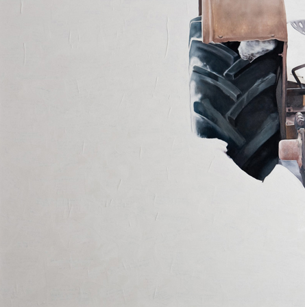 "'Erosion - Tractor C' - 48"" x 48"" - Oil on canvas, paper - 2011 : SOLD"