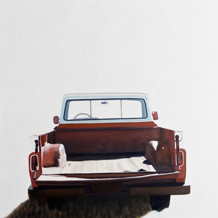 "'Erosion - Truck' - 48"" x 48"" - Oil on canvas, paper - 2011 : SOLD"
