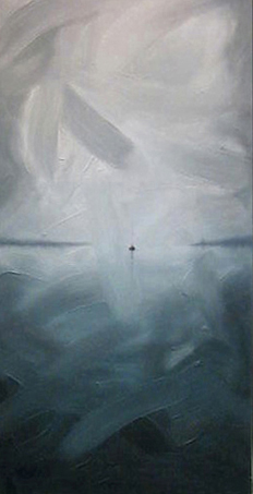 """Last Boat Out - A sign of things to come"" - 36"" x 18"" - Oil on canvas, geese - 2006 : SOLD"