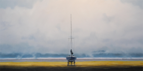"""Boat in Cradle - with London Express' - 24"" x 48"" - Oil on canvas - 2014 : SOLD"