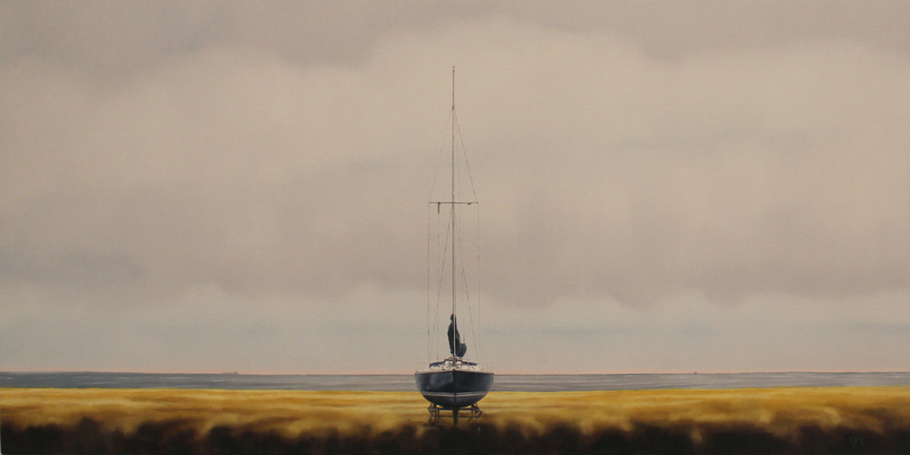 """Boat in Cradle - with Hapag-Lloyd' - 24"" x 48"" - Oil on canvas - 2014 : SOLD"