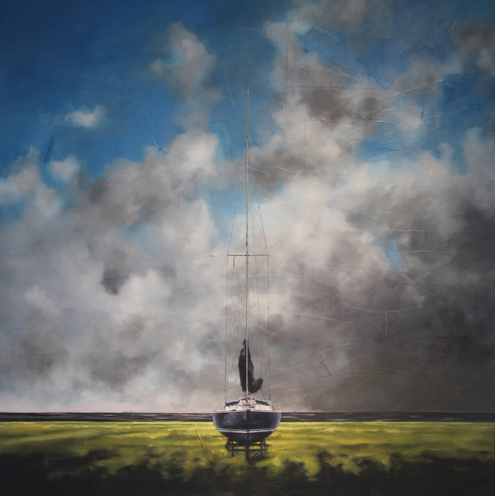 """Boat in Cradle - a sign of things to come' - 36"" x 36"" - Oil on canvas, paper - 2014 : SOLD"