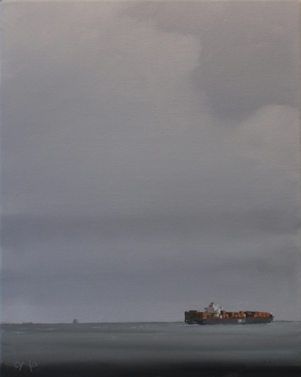 """Halifax Shipping Lane - Zim Mediterranean"" - 11"" x 14"" - Oil on canvas - 2012 : SOLD"