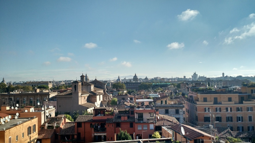 Roof-top view from our Roman Hotel in Trastevere