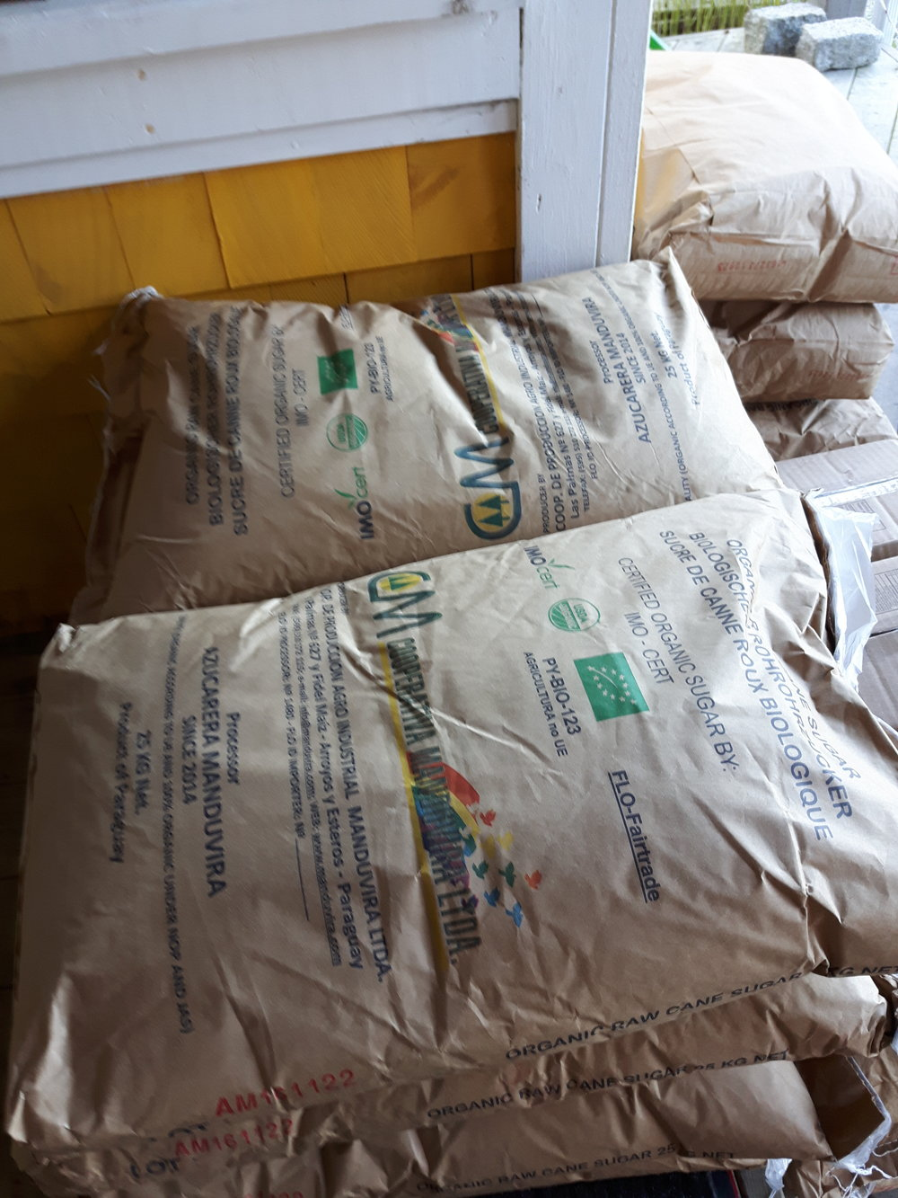 3000kg of Sugar arrived and we moved it into our storage space above PAVIA in Herring Cove.