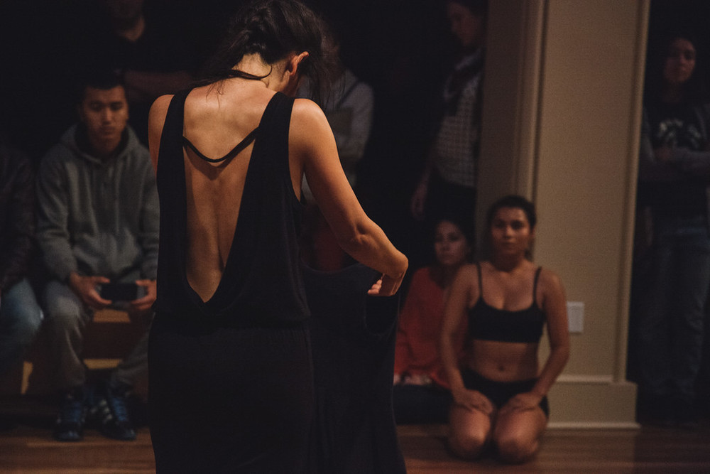 This is a moment captured by photographer Jonathan Godoy in the work the the, by choreographer Tanya Lukin-Linklater. It was an intensive two-day collaborative process working alongside dancers Cydney Watson and Lupe Rodriguez. This work was presented at UC RIverside's Indigenous Choreographers at Riverside 2015.