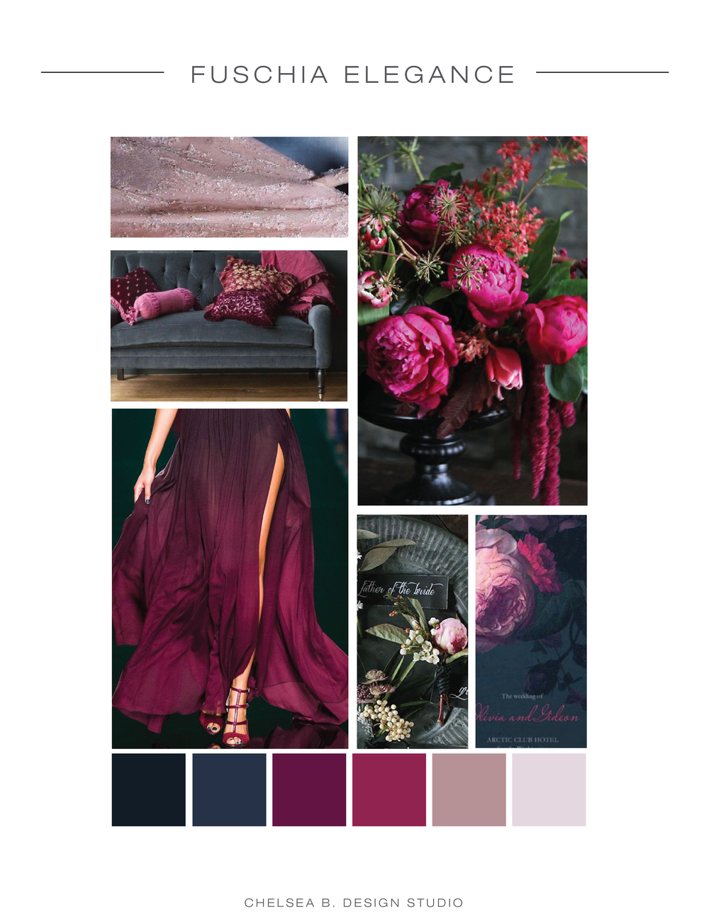 fabric | couch | flowers | dress | boutonniere | invitation