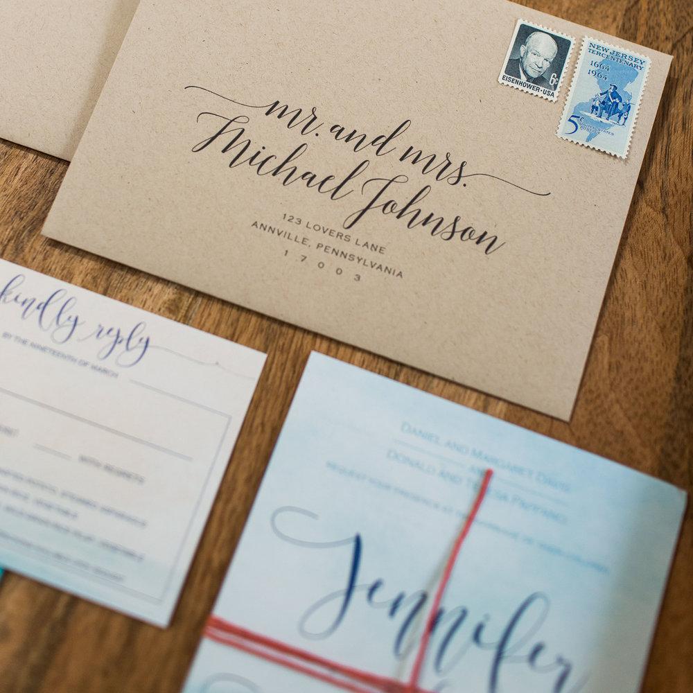 custom gold foil wedding invitations | new jersey wedding invitation designer | princeton invitation designer | beach and watercolor wedding invitations