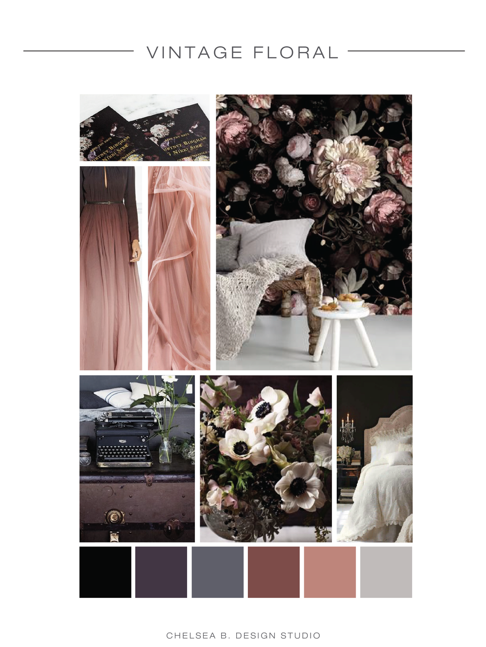 princeton wedding invitation designer | mood board | inspiration board |vintage moody floral