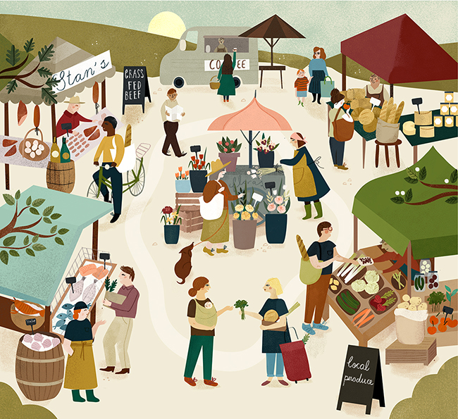 Summer Farmers Market illustrated by Clare Owen
