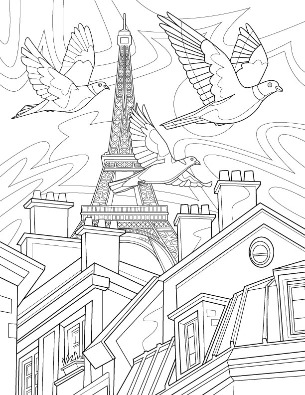 pigeons in paris - Paris Coloring Book