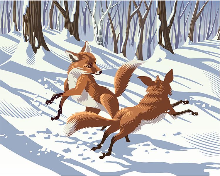 Frolicking Foxes - GA521