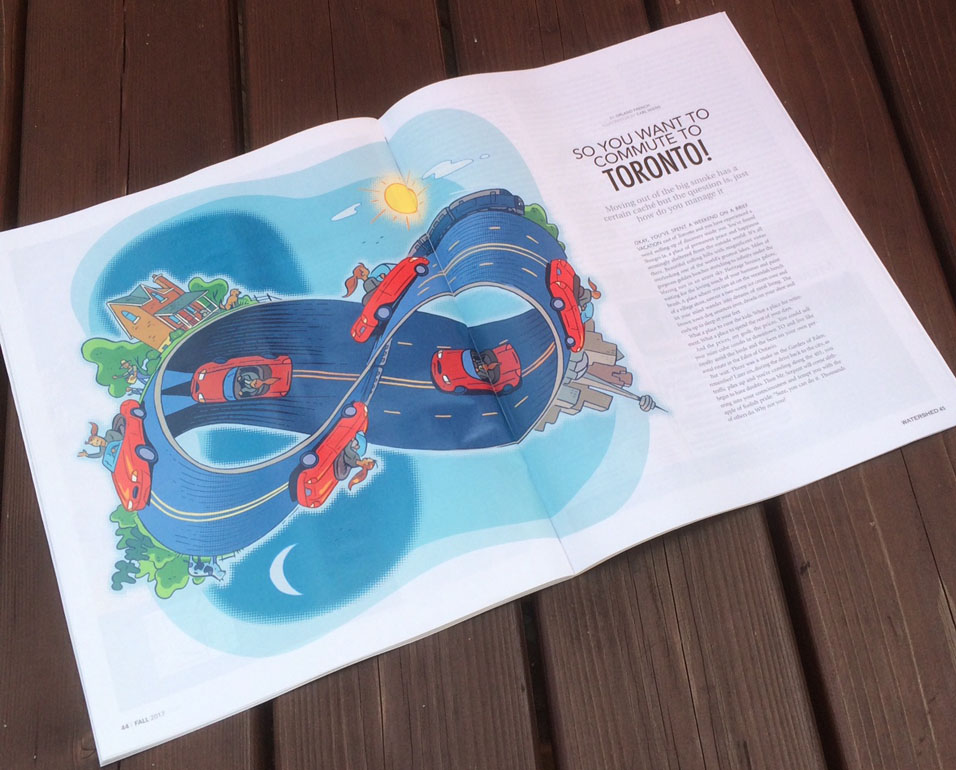 Watershed Magazine Layout - Illustration by Carl Wiens