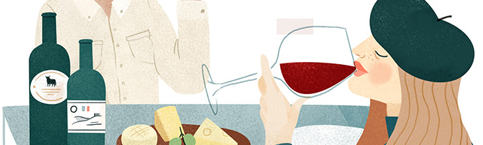 Wine Tasting. Illustration by Clare Owen. Represented by i2i Art Inc.