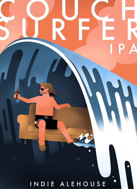 'Couch Surfer' Indie Ale House label.