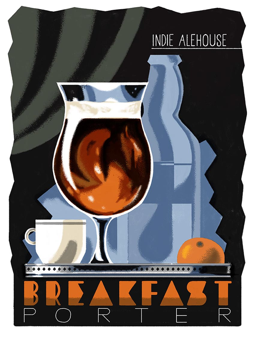 'Breakfast Porter' Indie Ale House label.