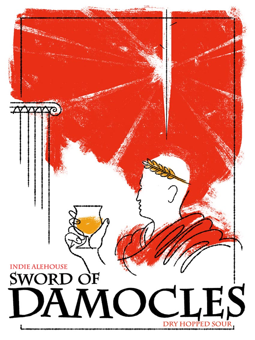 'Sword of Damocles' Indie Ale House label for a dry hopped sour beer.