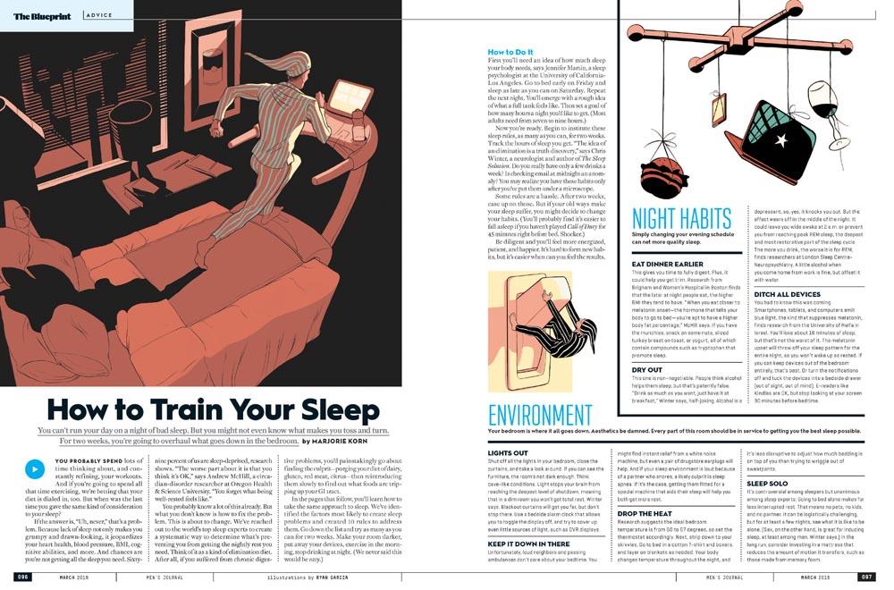 Men's Journal Sleep Article. Illustration by Ryan Garcia.