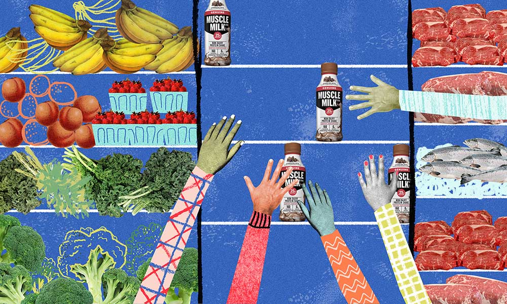Reach for the Muscle Milk. Illustration by Natalie Nelson.