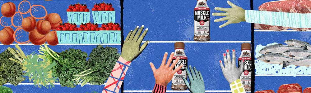 Reaching for the Muscle Milk. Illustration by Natalie Nelson.