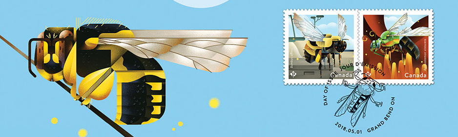 'Bees'. Canada Post stamp. Illustration by Dave Murray.