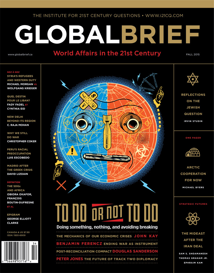 Cover illustration for the magazine Global Brief issue about economic crisis.