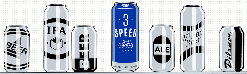 Amsterdam Brewery - 3 Speed. Illustration by Ryan Garcia.