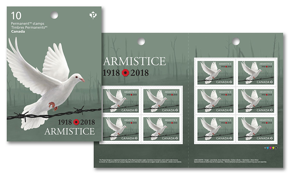 Illustration by Jillian Ditner. Canada Post armistice Armistice commemorative stamp. Illustration by Jillian Ditner.