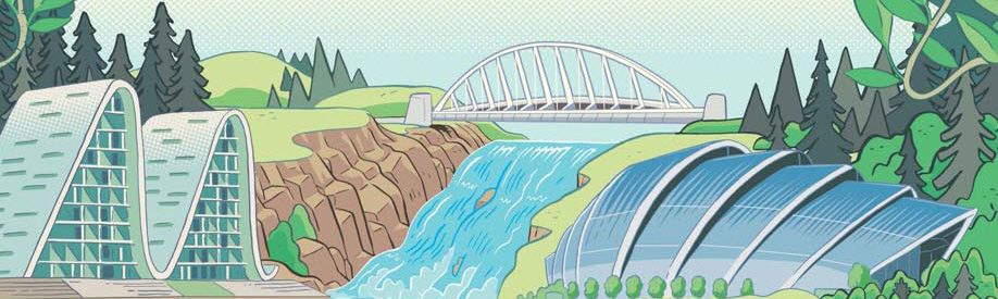 Wilding Building and Bridges. Illustration by Carl Wiens.