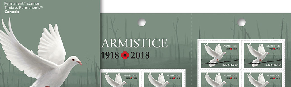 Illustration by Jillian Ditner. Canada Post stamp, armistice.